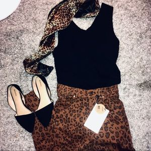 Leopard print jeans by cotton:on, NWT! Free scarf!